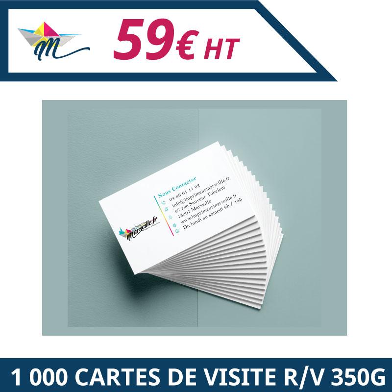 Impression 1 000 cartes de visites 350g R/V